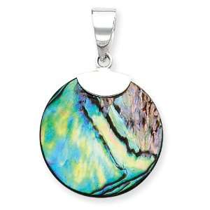 Sterling Silver Round Abalone Pendant Jewelry