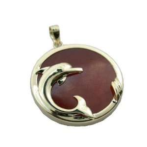 Red Jade Surfacing Dolphin Pendant, 14k Gold Jewelry