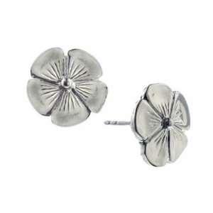 Small Silver Buttercup Flower Stud Earrings 1928 Jewelry