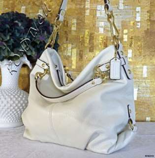 NWT COACH STUNNING WHITE BROOKE LARGE LEATHER LIMITED STYLE HOBO TOTE