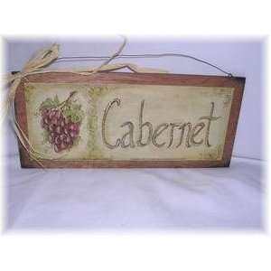 Cabernet Red Wine Sign with Grapes Tuscan Kitchen Decor