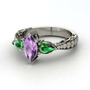 Hearts Summit Ring, Marquise Amethyst 14K White Gold Ring