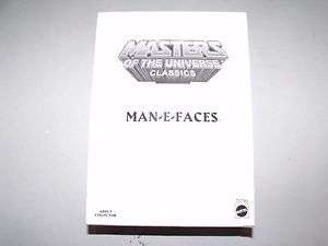 HTF SOLD OUT MATTEL MASTERS OF THE UNIVERSE CLASSICS MAN E FACES