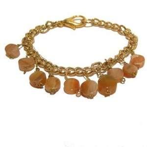 Calcite Bracelet 08 Crystal Orange Gold Chain Coin Charm