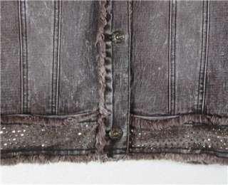 DG2 Diane Gilman Stretch Denim Studded Jacket, S/M Mocha Distressed