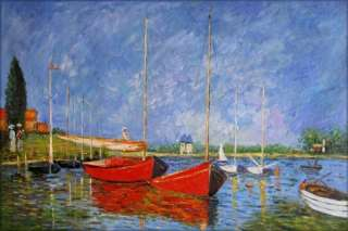 Claude Monet Red Boats Reproduction, High Quality Hand Painted Oil