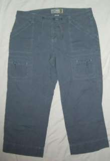 Womens Old Navy Blue Carpenter Capri Pants Sz 12