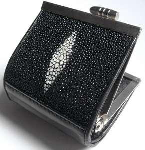 Genuine STINGRAY Skin Black Brand New Leather Coin Purse