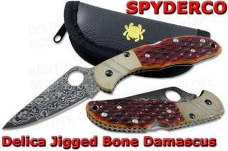 Spyderco Damascus Delica Jigged Bone SPRINT RUN C11JBOP