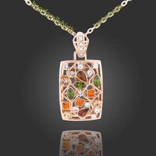 18K rose gold Gp Swarovski Crystal fashion necklace N3