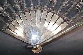 Art Deco Black Net Silver Metallic Lace Spanish Flapper Fan