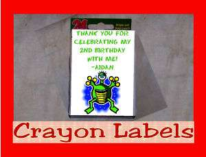 Alien Astronaut Space Birthday Party Crayon Favor Label Personalized