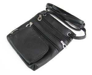 Black Cow Leather Passport Travel Shoulder Bag Pouch