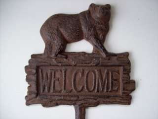 Cast Iron Bear Welcome Stake Rustic Lodge Cabin Sign Plaque