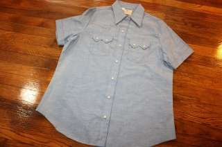 womens 17 / 18 * NOS vtg DEE CEE chambray S/S WESTERN pearl snap shirt