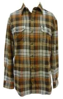 Timberland orange plaid chamois button shirt size M