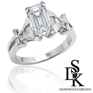 Engagement Ring 1.35 Ct total Emerald Cut 18K Gold Chancel Certified