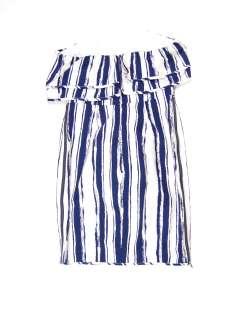 Thread Social womens cream/navy striped strapless ruffled dress 6 $475