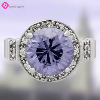 Jewelry Sale ROUND CUT PURPLE TANZANITE WHITE GOLD JEWELRY RING 8 Q