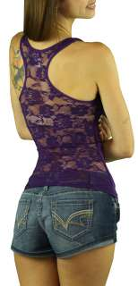 Lace Sheer Back Fishnet Front Sexy Tank Top Comfy Shirt Sleeveless 308