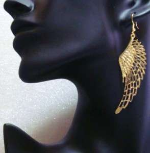 Gold/Tn. Smaller Angel Wings Dangle Chandelier Earrings