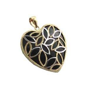 Onyx Snared Heart Pendant, 14k Gold Jewelry