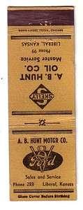 Old Ford Skelly Gas Gasoline Oil Matchbook Cover   Liberal, Kansas Ks
