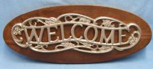 WOOD & METAL WELCOME WALL HANGING SIGN FOR HOUSE SHOP Nice