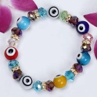 12mm Evil Eye Lampwork Glass Crystal Bracelet Bangle 1P
