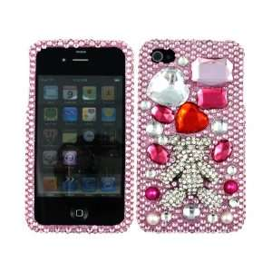 Hot Pink Silver Bear 3D Bling Rhinestone Faceplate Diamond