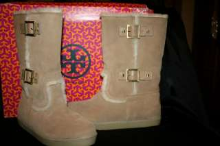 TORY BURCH SHORT SHEARLING BUCKLE BOOTS REVA LOGO CAMEL 9 39 SALE $250
