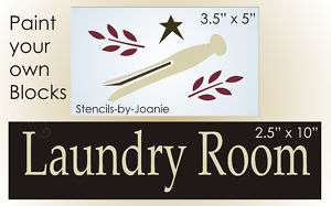 STENCIL Primitive Laundry Room Clothespin Country signs