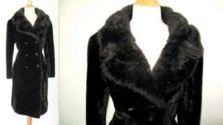 Vtg Union Made Faux Fur Fitted Full length Winter CoatL