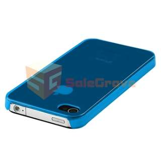 Screen Shield+Blue Slim Fit Plastic Case Cover For iPhone 4 4G 4S