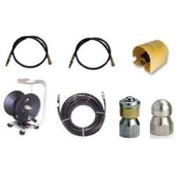 Sewer Jetter Cleaner Kit   Foot Valve, 200 x 3/8 Hose, Reel & Nozzles