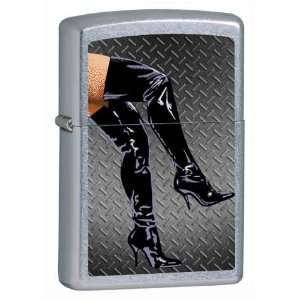 Custom Lighter   Sexy Lady Legs in Black Boots Untamed Wild Woman Logo