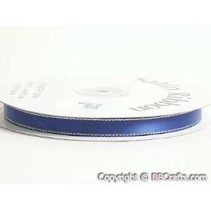 Satin Ribbon Lurex Edge 1/4 inch 50 Yards, Royal Blue with