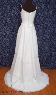 Mori Lee White Chiffon Layered Wedding Dress 4 NWOT