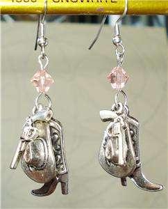 Gun Cowgirl Boot Cowboy Western Hat Pink Crystal Earrings