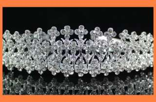 FLOWERS CROWN CLEAR RHINESTONE TIARA COMB BRIDAL PARTY WEDDING PROM