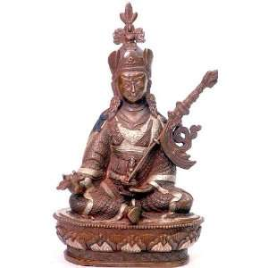 Rinpoche   Copper Lost Wax Sculpture with Silver Inlay: Home & Kitchen