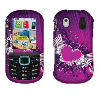For Samsung U460 Intensity 2 Phone Purple Heart Wing 2D Silver Snap On