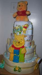 Baby Shower 4 Tier Diaper Cake, Winnie the Pooh, Precious Moments