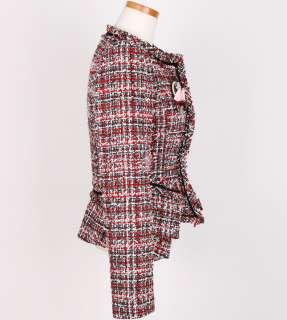 Runway Luxury CoCo Pocket Layered Detail Red/Black Wool Tweed Blazer