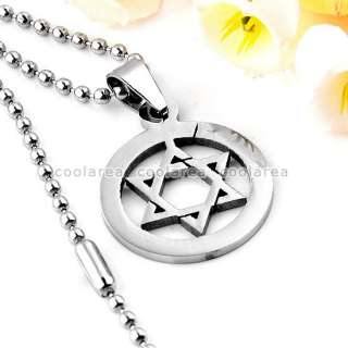 New Mens Stainless Steel Star Of David Pendant Chain Necklace 19 Punk