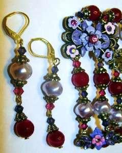 Ruby Quartz~Swarovski Florals~Pink Purple Crystals~Bracelet Earring