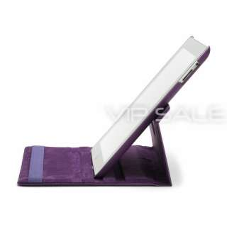 PURPLE LEATHER CASE WITH 360 ROTATING STAND + SCREEN PROTECTOR
