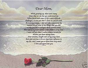 Dear Mom Poem Personalized Name Prayer Rose Beach Print