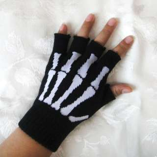 GOTH EMO SKELETON BONES /METAL STUDS SHORT FINGERLESS GLOVES DEATHROCK
