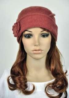 Cute Rose Winter 100% Wool Fashion Lady Womens Dress Hat Beanie Ski